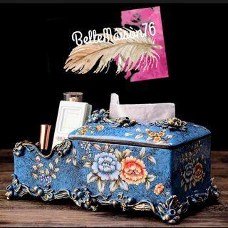Porcelain Tissue Box & Remote Holder - Wild Flowers on Blue