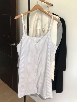 🚚 韓版白直條紋吊帶裙