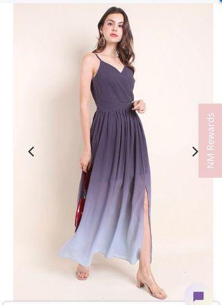 *PREMIUM* BNWT NM Chambery Sweetheart Spag Ombré Maxi Dress (Black / Grey / White)