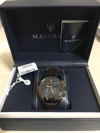 瑪莎拉蒂手錶 R8871612008 MASERATI 正品 三眼錶 計時錶 計分 計秒 24小時制 皮錶帶 石英錶