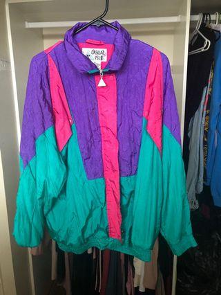 Vintage bright retro rain sports jacket