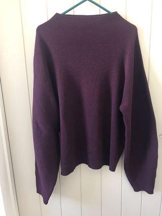 H&M Maroon High Neck Swing Jumper