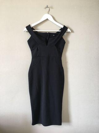 V-front Bardot midi dress