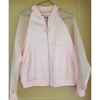 2019 最新 櫻花粉 外套 see through 袖 wind jacket sakura pink