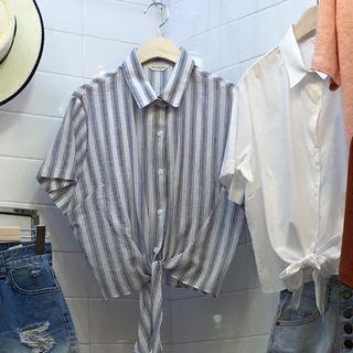 🚚 花泥小姐,藍條紋綁帶短襯衫✨