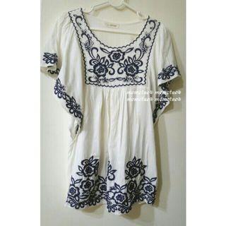 🚚 青花藍 寬袖純棉民族風  刺繡花草娃娃裝 上衣洋裝