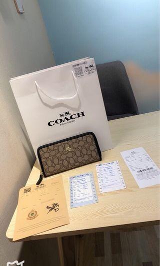 COACH男女通用拉鏈長款銀包 順豐包郵