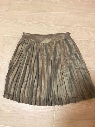 Champagne gold pleated skirt