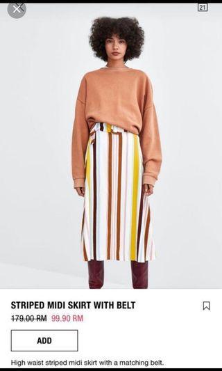 Zara Stripes Midi Skirt with Belt