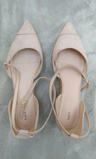 Beige covered shoes with strap