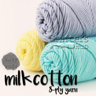 8-ply soft milk cotton yarn (White Brown Grey Black) for crochet knitting amigurumi scarf DIY craft