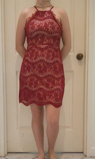 Lace little red dress