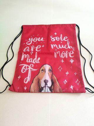 Brand New Hush Puppy Red Drawstring Bag (A4)