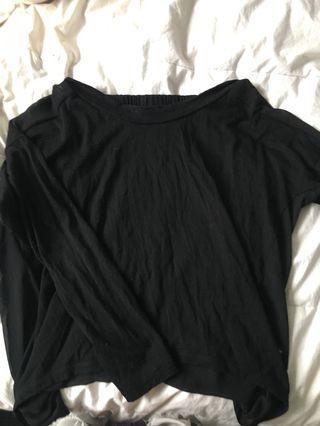 Off the shoulder mesh back shirt