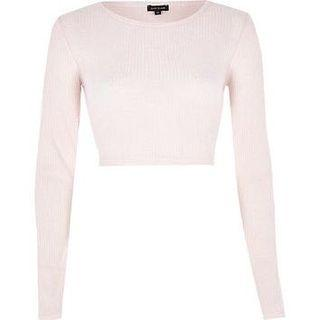 Forever 21 Pink Ribbed Long Sleeve Crop Top