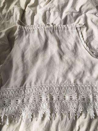 Tie up white lace crop top