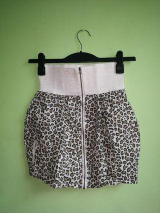 White Leopard Print Skirt