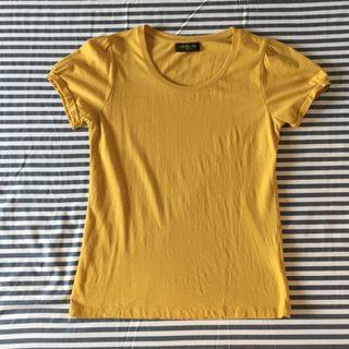Net芥末黃摺袖公主袖T-shirt