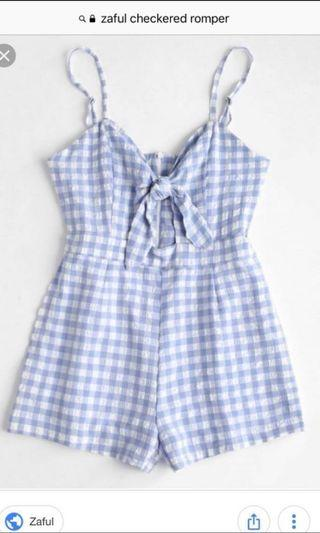 Brand New Zaful Cut Out Plaid Cami Playsuit Romper