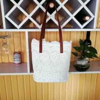 Women Korean Trend Summer Lace Large Bucket Style Shoulder Bag [Black/Khaki/White]