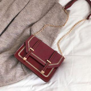 Women Korean Fashion Casual Leather Wild Frosted Chain Small Shoulder Bag [Black/Navy/Red]