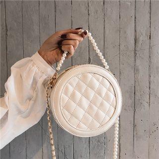Women Korean Fashion Small Pearl Chain Rhombic Fairy Shoulder Bag [Black/gray/White]