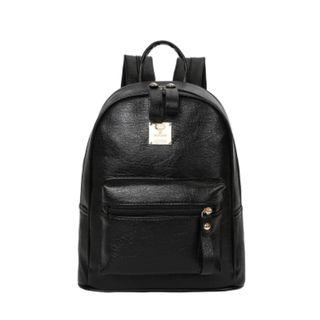 Women Korean Fashion Small Leather School and Casual Backpack [Black/Brown]