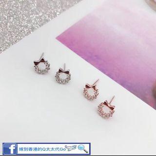 925純銀 爆款 時尚領帶結半鑽耳釘