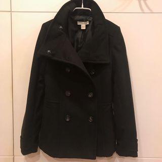 H&M 雙排扣素黑外套 只穿過一次