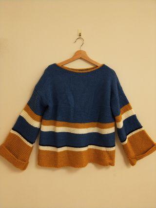 復古撞色超寬鬆毛衣
