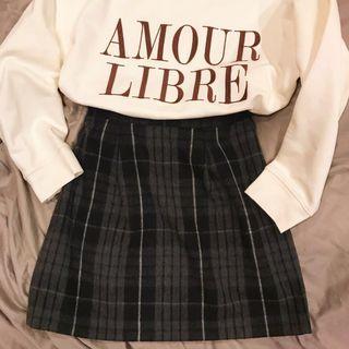日本製 格紋毛料短裙