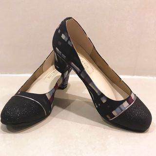 Jelly Beans 日本製格紋亮片靴頭粗跟娃娃鞋 22.5
