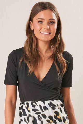 Ally Fashion Black Wrap Top