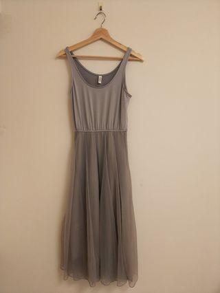 深灰色三層紗背心裙