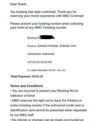 [URGENT] 2x Standard Seating AVENGERS: End Game Tickets