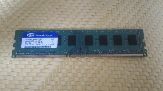 Team 十銓 DDR3 1600 4G 桌機記憶體 雙面顆粒