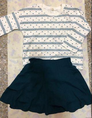 藍綠色雪紡短裙 文青文藝日系復古