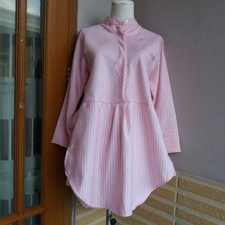 Kemeja blouse stripe pink