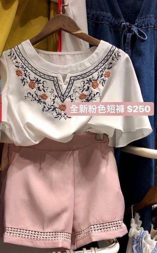 「全新」粉色流蘇短褲 雪紡白襯衫