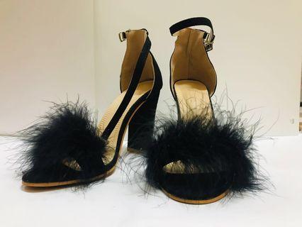 (NEW) Black Fur Heels