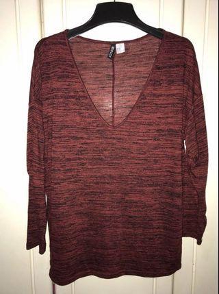H&M Top Long sleeves Burgundy (OverSize)
