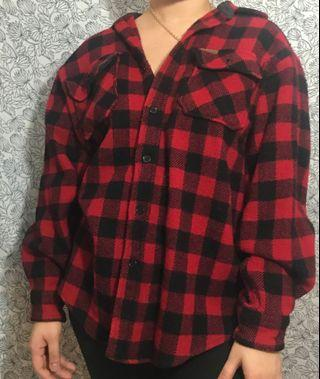 Vintage Wool Flannel, Warm and thick, Red and Black Chequered