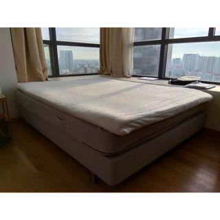 Ikea Sultan queen size bed with latex mattress pad