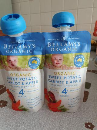 🚚 Bellamy's organic baby food ( sweet potato, carrot & apple)