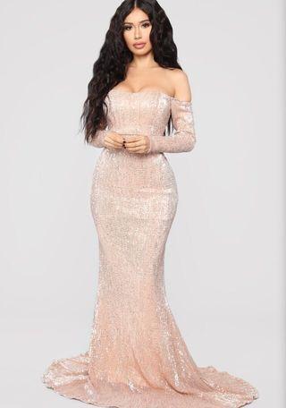 Pink Off Shoulder Sequin Gown