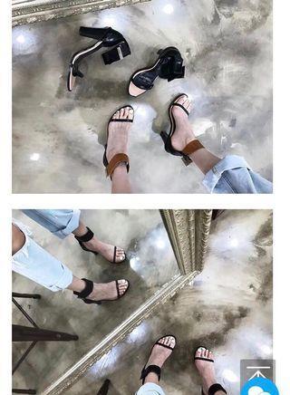 正韓一字繫帶跟鞋