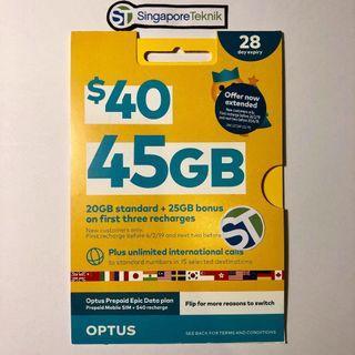 OZ AU Travel SIM CARD Prepaid 28 days 45GB 4G 3G Mobile Call Data SMS Australia