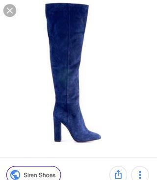 Siren navy suede leather over the knee boots -$299