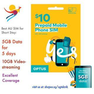 Best 5GB Australia Prepaid SIM Card 5d Optus Starter Kit Mobile Phone Dataroam