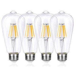 (E1181) Wedna LED E26 Filament Edison Bulb, 6W (Equivalent 60W) ST64 LED Energy Saving Light Bulbs, Warm White 2700K, Clear Glass, 4-Pack
